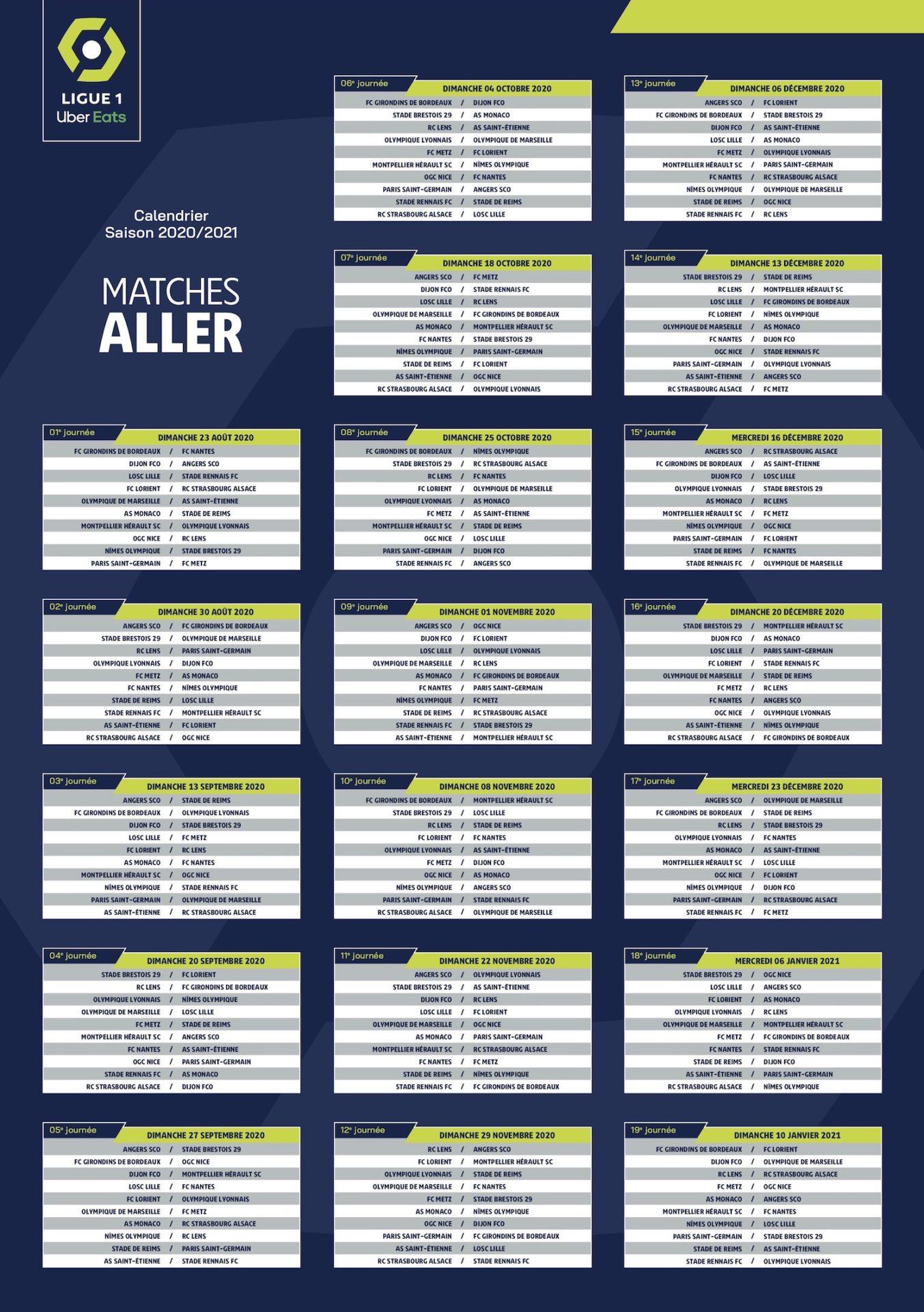 Calendrier De Ligue 1 2021 CALENDRIERS LIGUE 1   LIGUE 2 SAISON 2020 2021   NORDSPORTS MAG
