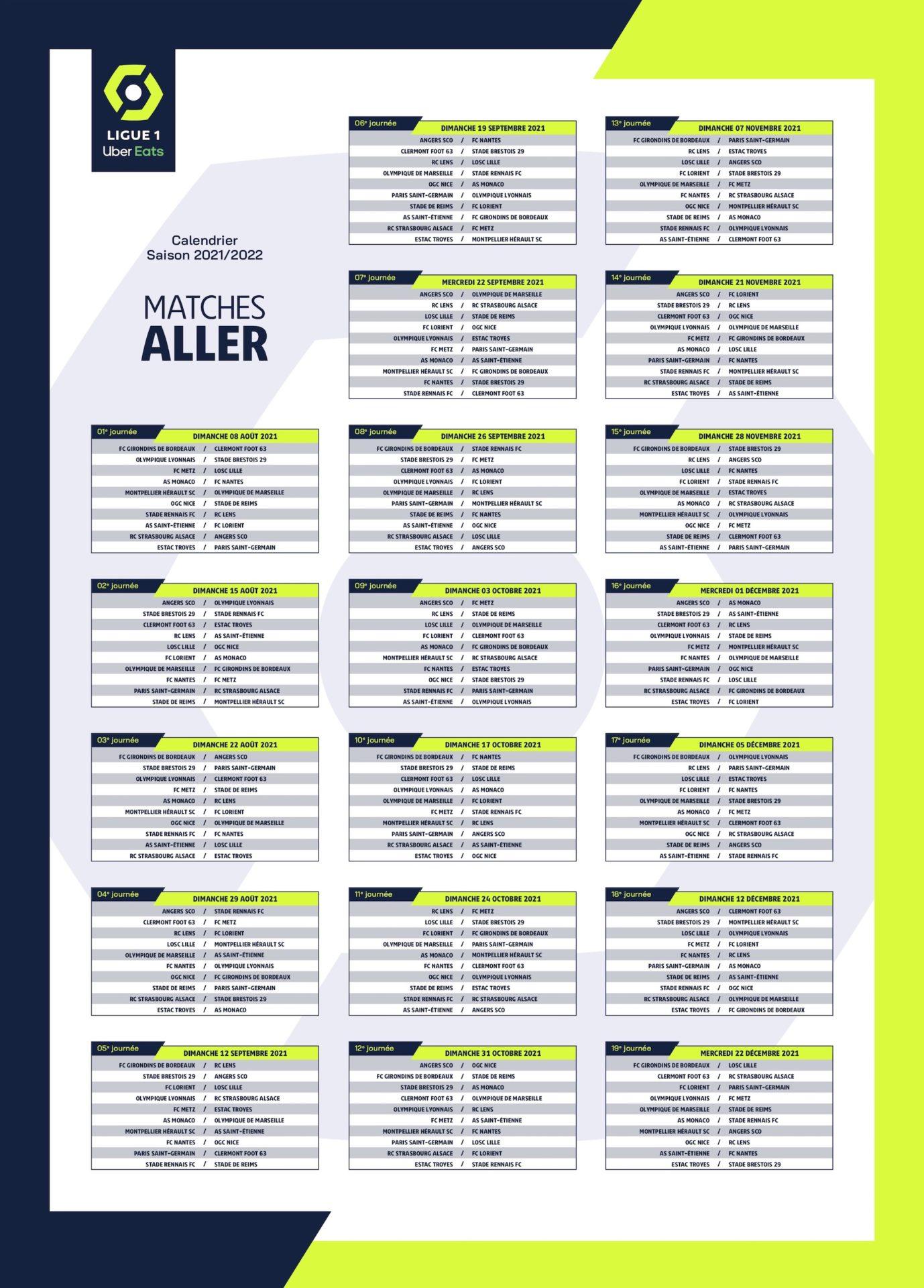 Ligue 1 2022 Calendrier LIGUE 1 UBER EATS CALENDRIER SAISON 2021 2022   NORDSPORTS MAG