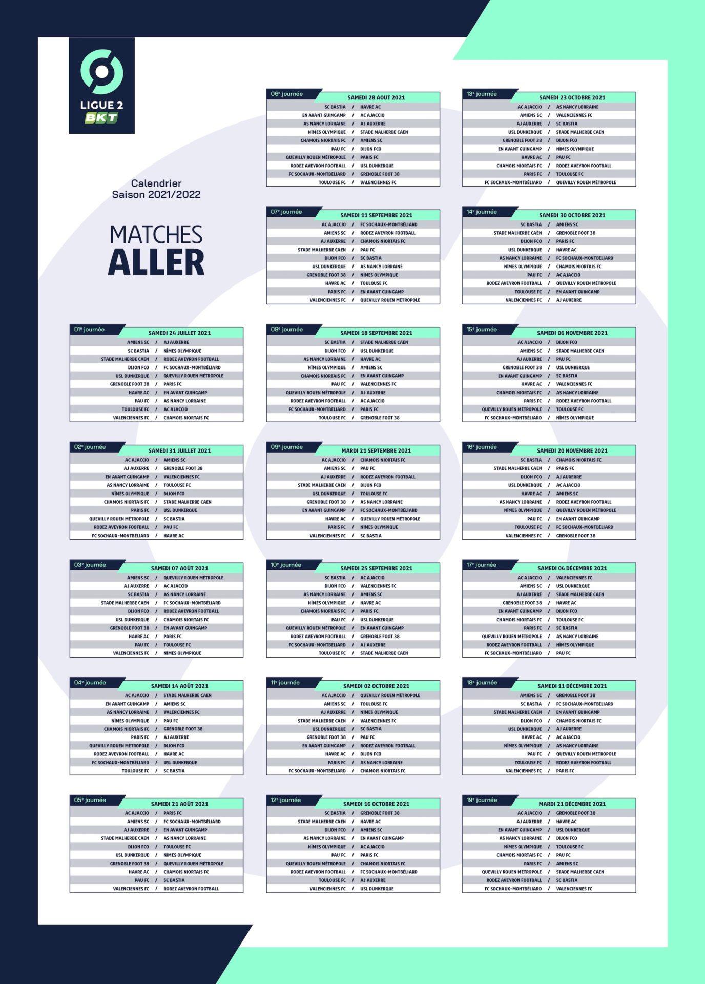 Calendrier 2022 Ligue 2 LIGUE 2 BKT LE CALENDRIER SAISON 2021 2022   NORDSPORTS MAG